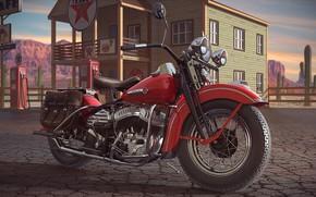 Picture star, camel, motorcycle, column, Harley-Davidson WL(WLD)