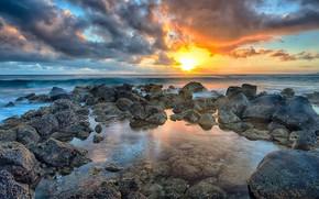 Picture landscape, sunset, coast
