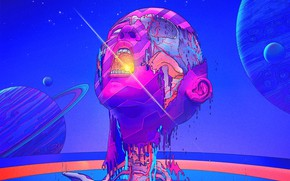 Picture Color, Heart, Skull, Planet, Space, Style, Face, Planet, Head, Fantasy, Style, Color, Fiction, Fiction, Illustration, …