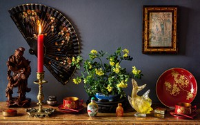 Picture flowers, style, candle, fish, picture, fan, Cup, still life, candle holder, dish, figurines