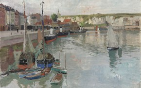 Picture Norwegian painter, Frits Thaulov, Frits Thaulow, Norwegian impressionist painter, oil on canvas, Dieppe, Dieppe