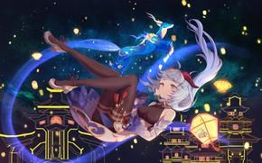 Picture the sky, dragon, lanterns, Genshin Impact, Ganyu