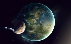 Picture The game, Planet, Space, Fantasy, Blizzard, Art, Spaceship, Satellite, fan art, Illustration, Concept Art, StarCraft, …
