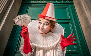 Picture umbrella, hands, clown, Italy, costume, Venice, gloves, carnival, cap