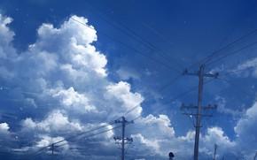 Picture the sky, water, schoolgirl, power lines, Axle
