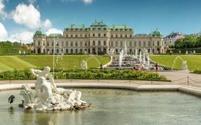 Picture Austria, garden, fountains, Palace, Austria, Vienna, Vienna, Belvedere, Belvedere Palace
