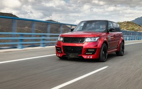 Picture road, car, machine, mountains, tuning, speed, driver, red, front, red car, tuning, Range Rover Vogue, …