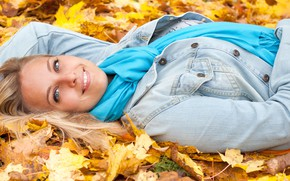 Picture autumn, look, leaves, girl, joy, pose, smile, mood, makeup, scarf, hairstyle, blonde, lies, beautiful, yellow, …
