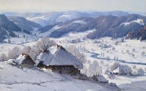 Picture German painter, German painter, oil on canvas, Carl Hauptmann, Karl Hauptmann, Large Black Forest Winter …