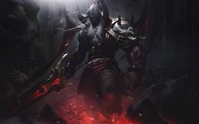 Picture dark, fire, sword, fantasy, game, armor, weapon, League of Legends, digital art, artwork, warrior, fantasy …