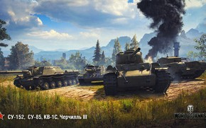 Wallpaper WoT, World of Tanks, SU-152, THE KV-1S, SU-85, Wargaming, Churchill III
