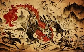 Picture mountains, China, battle, battle, monster, mythology, нянь, извергает огонь, воиын