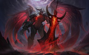 Picture The game, Armor, Sword, Wings, The demon, Fantasy, Art, Art, Fiction, Game, League of Legends, …