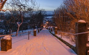 Picture winter, road, snow, city, the city, Park, the evening, Germany, Bayern, lights, park, winter, snow, …