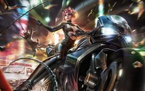 Picture Girl, Glasses, Costume, Art, Bike, Catwoman, Selina Kyle, Kitty, Dc Comics, DC Universe