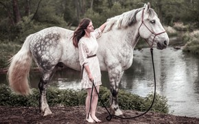 Picture girl, river, horse
