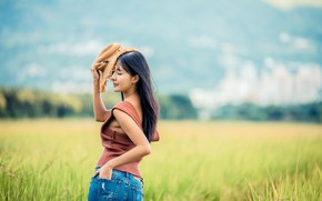 Picture field, jeans, hat, Mike, Asian, bokeh