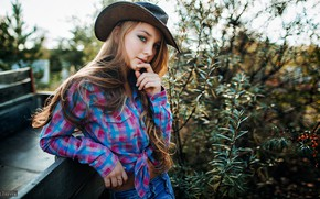 Picture look, sexy, model, portrait, jeans, hat, makeup, hairstyle, shirt, brown hair, beauty, is, the bushes, …