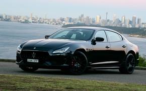 Picture the city, Maserati, Quattroporte, the evening, Australia, 2018, GTS, AU-spec, GranSport, Nerissimo Edition