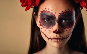 Picture look, girl, face, background, makeup, Halloween, Halloween, Nikita Orlov, Marina Mursalova, Sugar Skull Girl