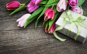 Picture flowers, gift, bouquet, colorful, tulips, wood, pink, flowers, tulips, spring, purple, with love, gift box