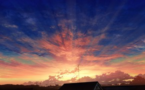 Picture the sky, rays, sunset