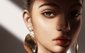 Picture look, girl, face, portrait, earrings, art, brown eyes