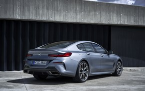 Picture coupe, BMW, Gran Coupe, 8-Series, 2019, the four-door coupe, Eight, G16, steel gray, the doors