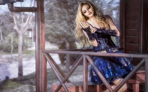 Picture girl, pose, house, hair, makeup, dress, blonde, beauty