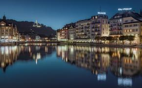 Picture reflection, river, building, home, Switzerland, night city, Switzerland, Lucerne, Lucerne, Reuss River, The River Reuss