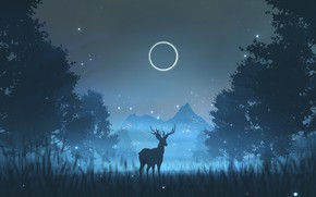 Picture Night, Trees, The moon, Forest, Silhouette, Deer, Fantasy, Night, Illustration, Animal, Deer, Environment, Environments, by …