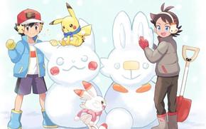 Picture snowmen, Pokemon, boys, Pokemon, Pikachu
