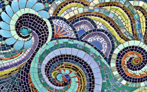 Picture design, mosaic, wall, pattern, texture, stained glass, ornament, abstract drawing, sea waves