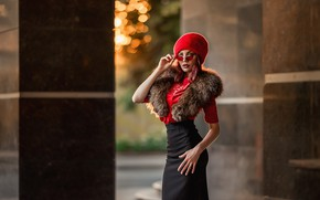 Picture girl, pose, style, hat, skirt, figure, glasses, fur, A Diakov George