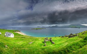 Picture sea, the sky, grass, water, nature, coast, home, Ireland