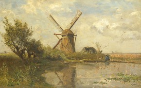 Picture landscape, oil, picture, canvas, 1903, Paul Gabriel, Mill at the pond, Paul Gabriel