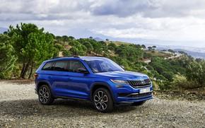 Picture open, Parking, 2018, crossover, SUV, Skoda, Skoda, 2019, Kodiaq RS