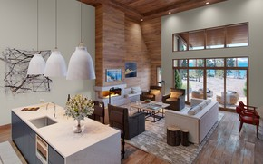 Picture design, Villa, interior, kitchen, living room, Catherine Macfee interior design
