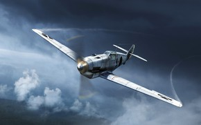 Picture the sky, clouds, the plane, War Thunder, Warplane