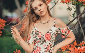 Picture girl, decoration, flowers, branches, nature, earrings, blonde, blouse, bracelet, necklace