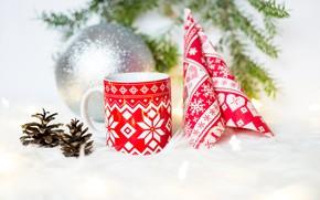 Picture background, holiday, pattern, new year, Christmas, light, ball, mug, fur, needles, ornament, bumps, napkin, Christmas …