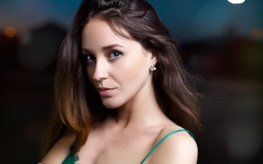 Picture portrait, look, background, brown hair, hairstyle, bokeh, makeup, night, Lorenza Dogs, close-up, Victor Kalman, model