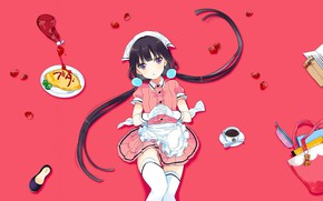 Picture strawberry, sweets, gloves, bag, the waitress, pink background, ketchup, apron, two tails, white stockings, omelette, …