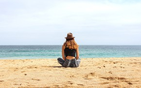 Picture sand, sea, summer, girl, coast, back, hat