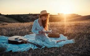Picture girl, rays, sunset, nature, pose, guitar, book, Nicholas David Furnari