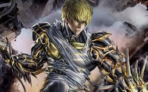 Picture anime, art, cyborg, One Punch Man, vanpatten, Genos