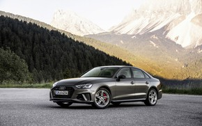 Picture forest, mountains, Audi, slope, sedan, Audi A4, 2019