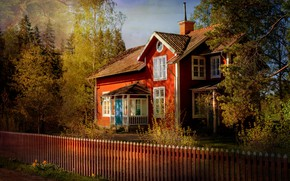 Picture forest, light, trees, branches, house, Park, the fence, view, Windows, the fence, beautiful, mansion, bright …