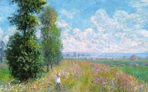 Picture field, grass, landscape, flowers, picture, meadow, Claude Monet
