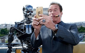 Picture terminator, cigar, cyborg, Arnold Schwarzenegger, terminator, selfie